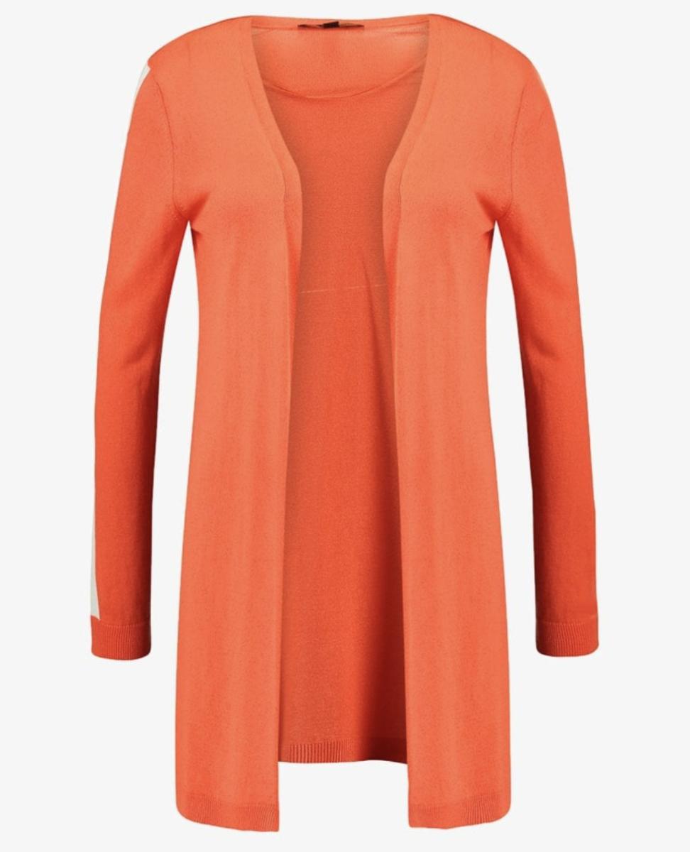 Bright orange cardigan