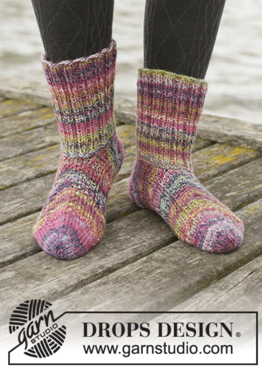 Knitted socks in melange yarn
