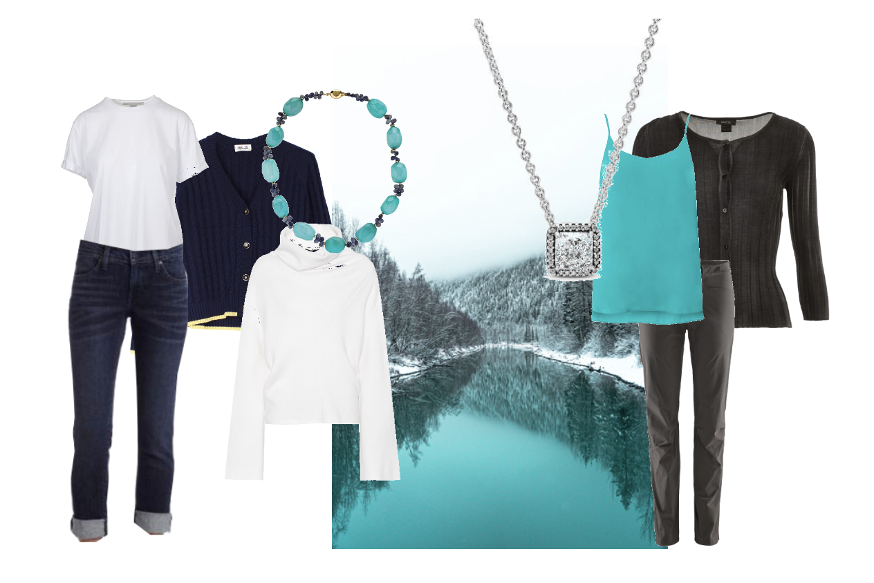 Bright Winter business casual inspired by landscape photo