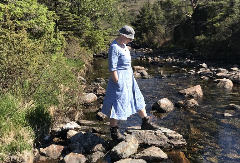 Linen dress in pale blue