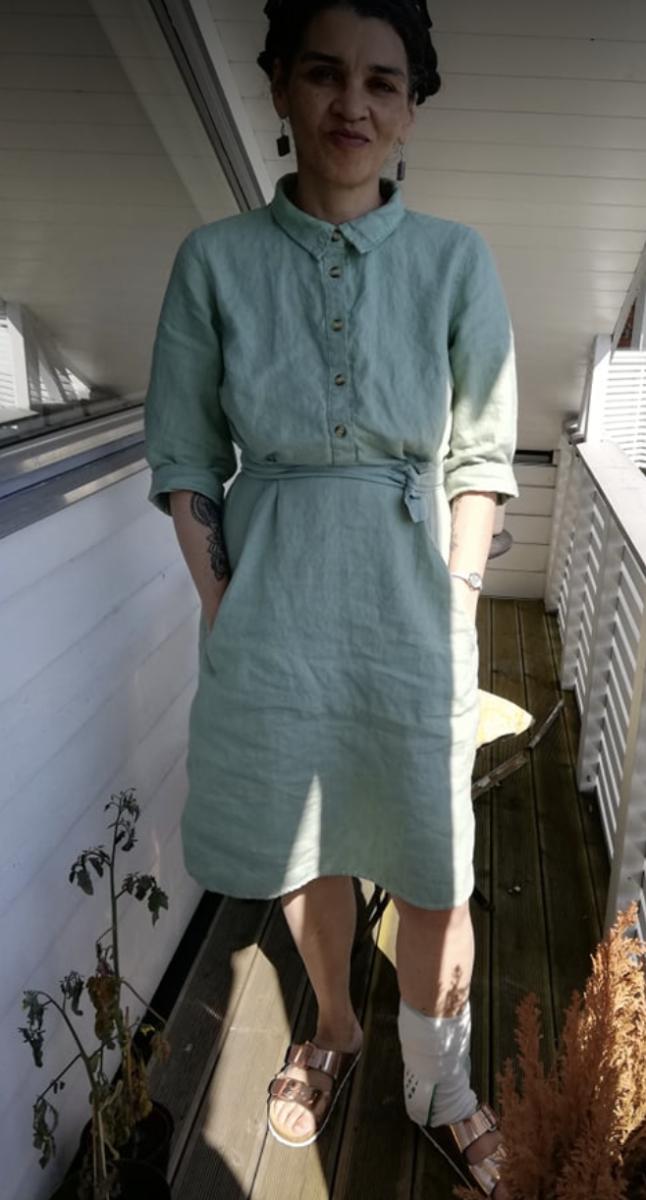Pale green shirt dress