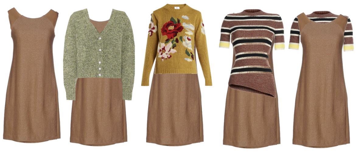 Layering a brown dress with solids and pattern