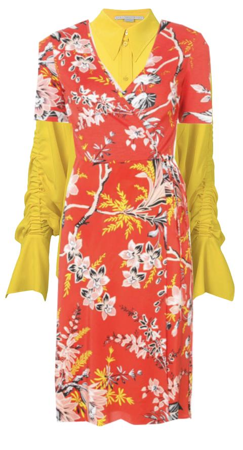 Draped blouse under draped floral  dress