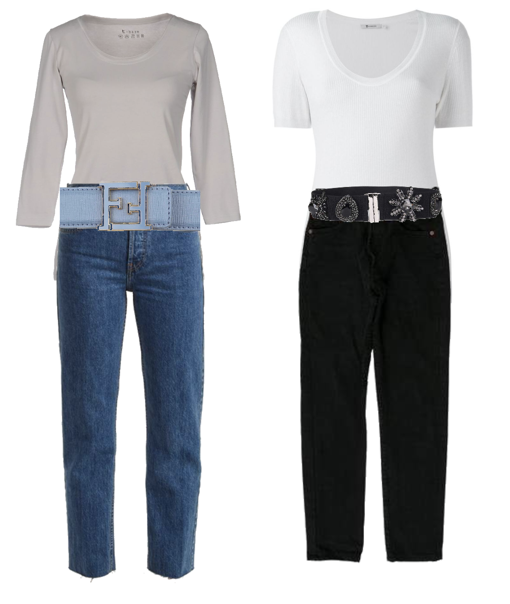 Jeans and top with belt
