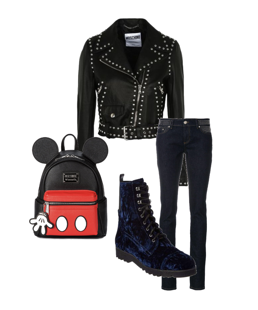 Mickey Mous bag with a studded moto jacket