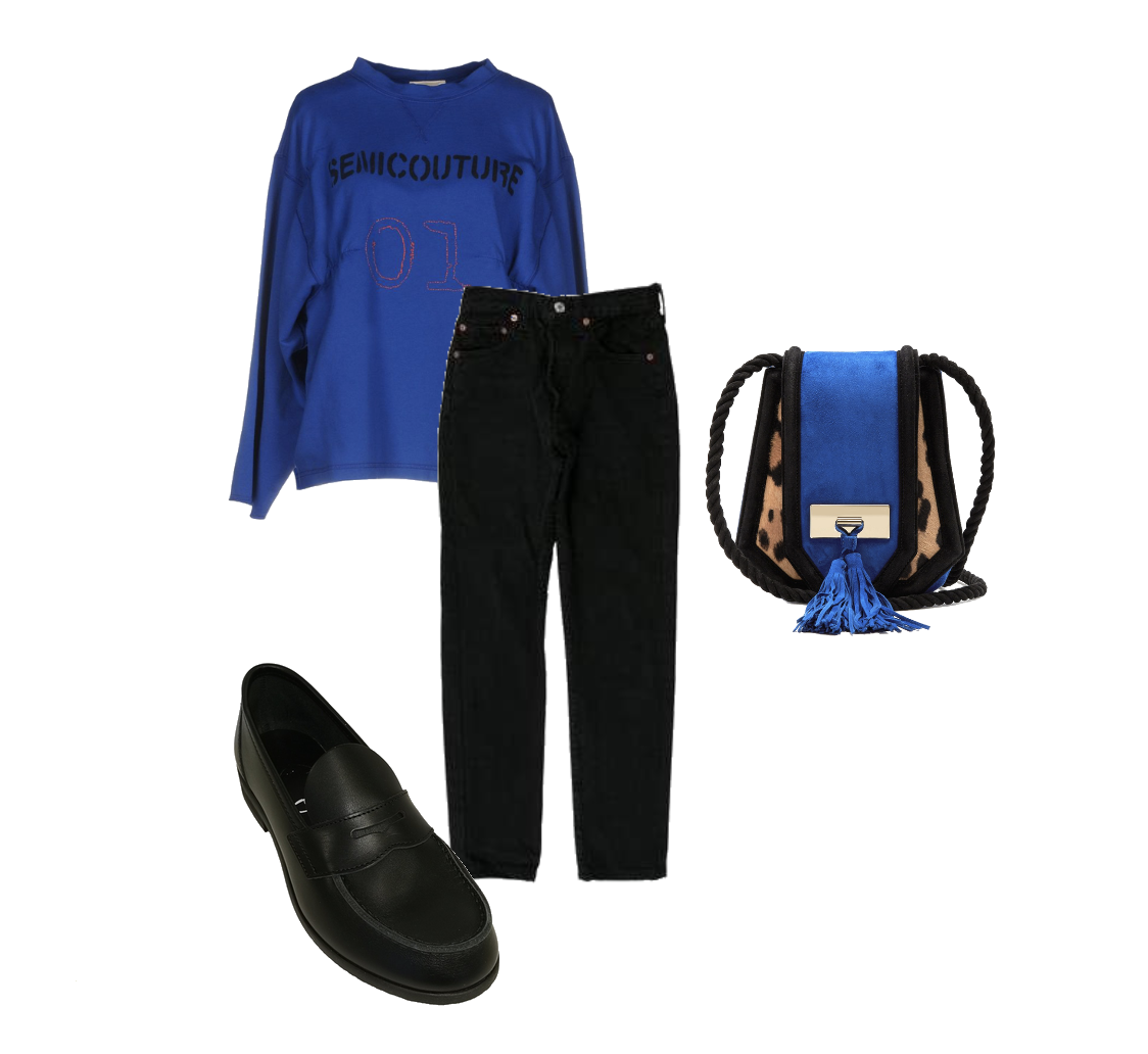 Progressive handbag with an otherwise ordinary outfit